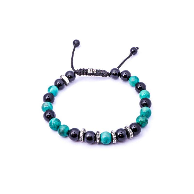 Onyx & Turquoise Silver Disk Bracelet II