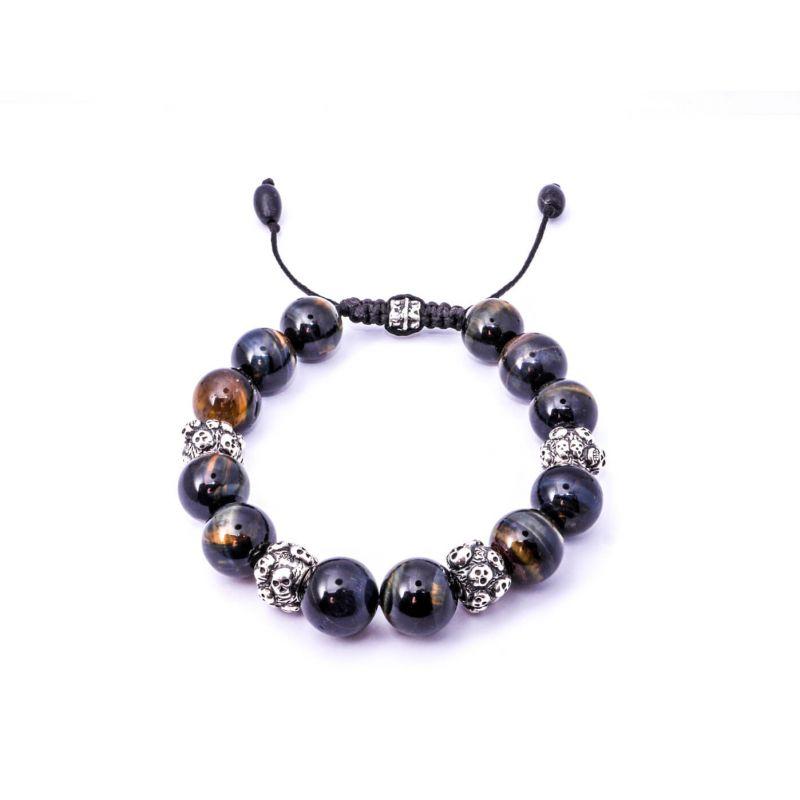 Tiger Eye Silver Skulls Bracelet