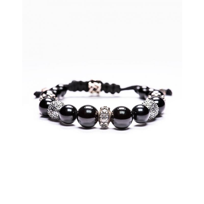 10MM BLACK ONYX MIXED WITH 925 SILVER BEADS BRACELET