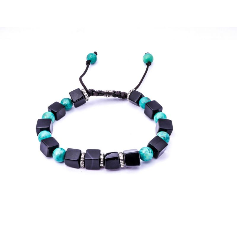 Onyx & Turquoise Silver Disk Bracelet