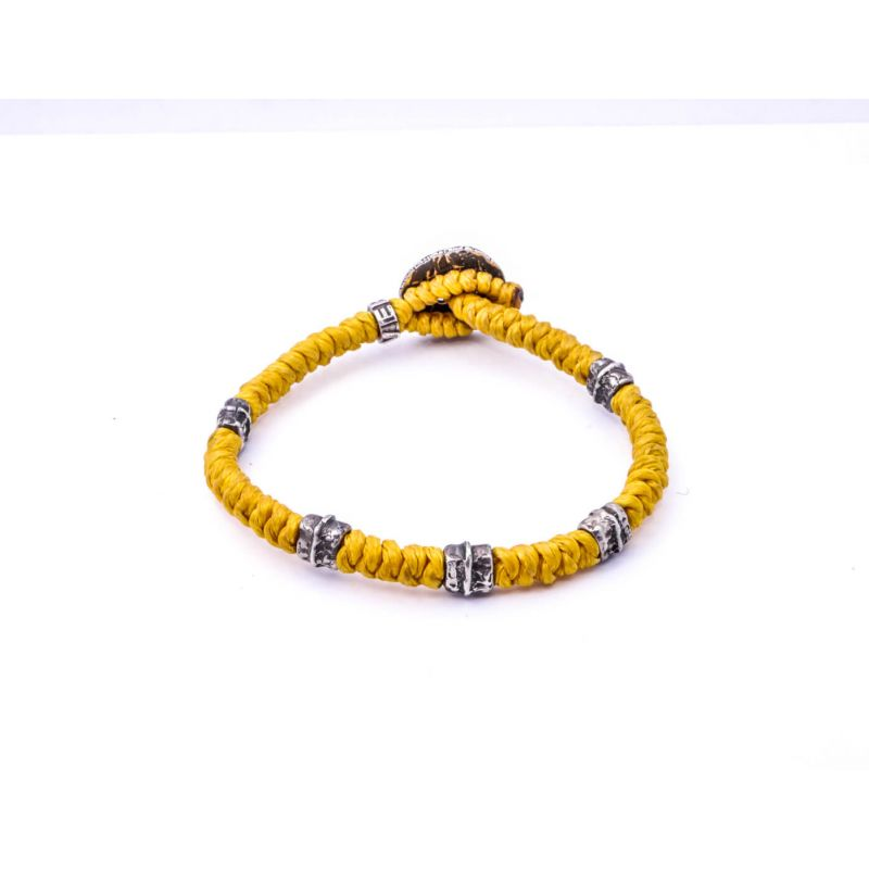 Waxed Cord Silver Bracelet V