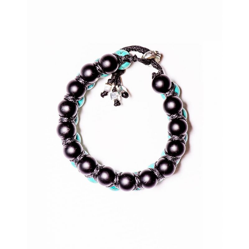 DOUBLE WRAPPED BRACELET WITH 6MM BLACK ONYX AND Turquoise STONES