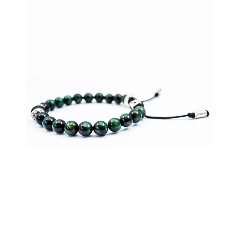 GREEN TIGER EYE STONES WITH 925 ORGANIC SILVER BEADS BRACELET