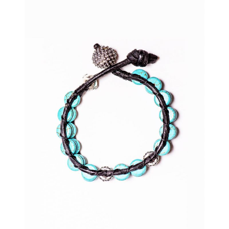 LEATHER BRACELET WITH TURQUOISE DISK STONES AND 925 SILVER BEADS