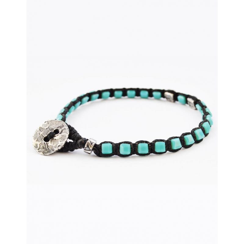 SEMIPRECIOUS TURQUOISE STONES BRACELET WITH 925 SILVER PIECES