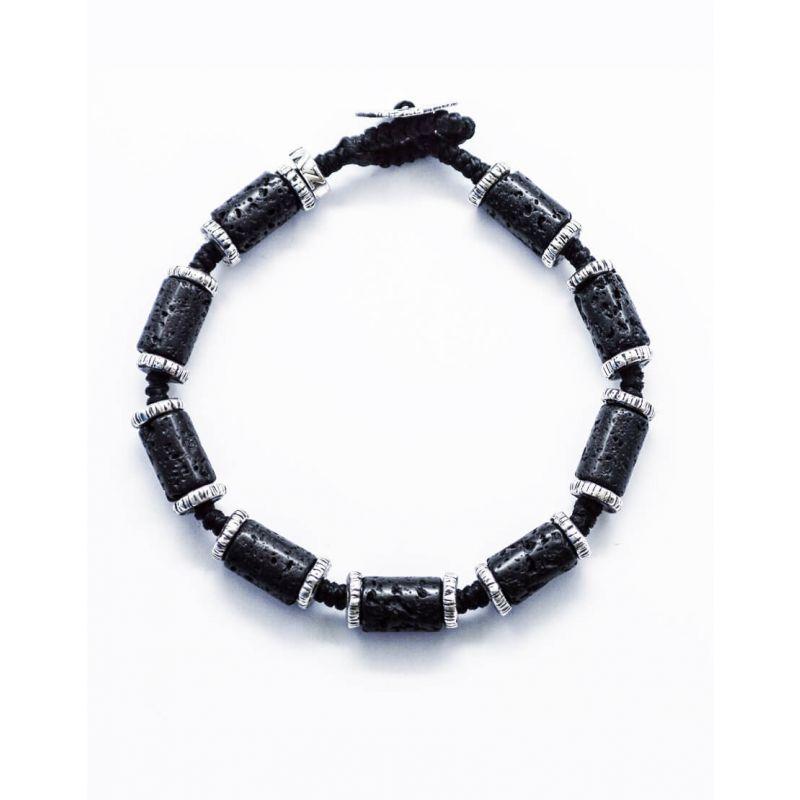 Lava beads with 925 Silver handmade bracelet